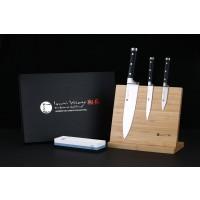 """IZUMI ICHIAGO - 3-tlg. Kochmesser-Set """"Professional Chef Knives"""" inkl. Bambustständer und zusätzlichem Wasserschleifstein"""